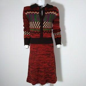 RARE 70s space dye boho hippie knit sweater dress